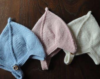 Luxury Hand Knitted Cashmere Merino Wool Silk Vintage Style Pixie Baby Hat