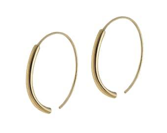 Large Loop Hoop Earrings - 925 Sterling Silver or Gold Plated - Elegant Hoop Earrings - Unique Open Hoops -Classic Gold Plated Hoop Earrings