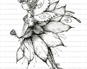 Instant Download Happy Fairy Coloring Sheet, Coloring Page, Digital Coloring Page, Kids Coloring Pages, Instant Download