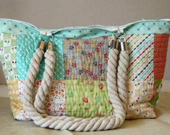 Bag multicolor, cotton, rope handles