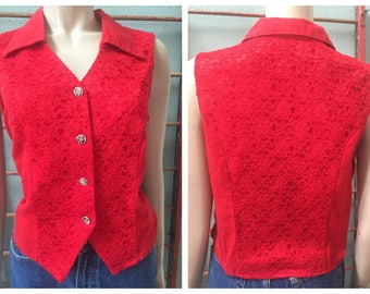 Cool Red lace sleeveless western Banjo button-up top / size large