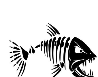 Mean Fish Skelton Window Sticker Decal