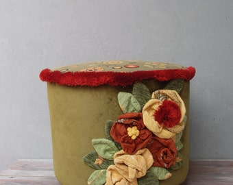 Flower Power Ottoman, Earthy colors and Green Pouf Stool Bohemian Wooden Furniture Handmade Fabric Flowers