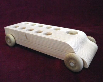 Original Bus WITHOUT Peg Dolls, Unfinished Pine Bus for Peg Dolls