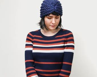 Winter Crochet Turban Hat-  Head Wrap Winter Accessory - Knit Turban Hair Accessory in Navy   The Zeta Turban  
