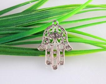 10pcs Silver  Hand of Fatima, Hamsa Charm Silver Charm, Hand Charm Silver Hamsa Hamsa Hand Necklace Charm 36*25mm