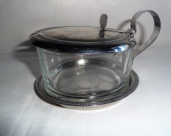 Vintage INOX Italy Stainless & Glass Sugar Bowl with Lid, Italian Sugar Dish