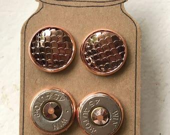 Bullet Earrings, Rose gold Earrings, Mermaid Scale Earrings, Gifts for Her, Bullet Jewelry Set, Druzy Earrings, Bullet Stud Earrings