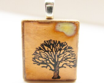 Oak Tree with Copper Sunset - Glowing metallic Scrabble tile pendant
