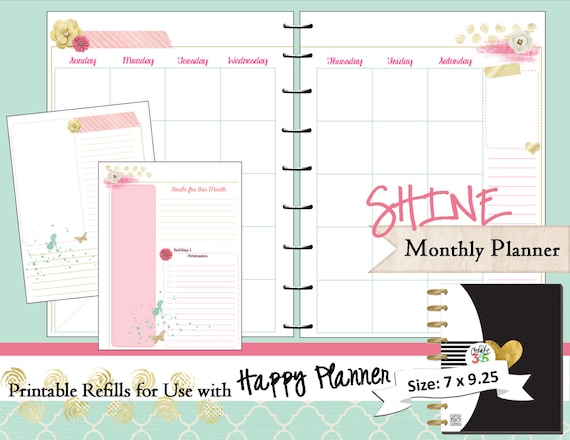 Happy Planner Printable Monthly Planner Refills  Inserts