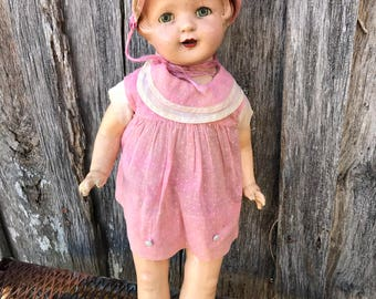 Vintage Composition Effenbee Doll with Pink Dress Molded Hair