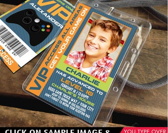 Video Gamer VIP I.D. Badge Invitation - Photo Gamer Party Invite, Party Favor, Game Truck Party | Instant Download D.I.Y. Printable PDF Kit