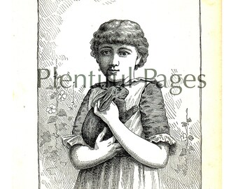 """1888 Vintage Illustration from the Belford's Annual Images, Antique Book Page, """"Little Pink Eyes"""", Victorian Girl, Rabbit, B&W Illustration."""