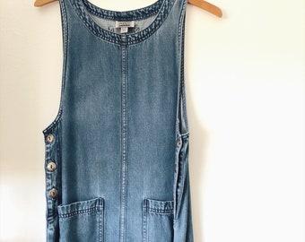 1980s Vintage Soft Cotton Indigo Denim Overall Dress