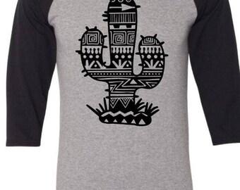 Aztec Cactus 3/4 Sleeve Top Shirt Tee Shirt T-shirt
