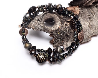 Black and Copper Beaded Necklace, Petite Glass Beaded Necklace