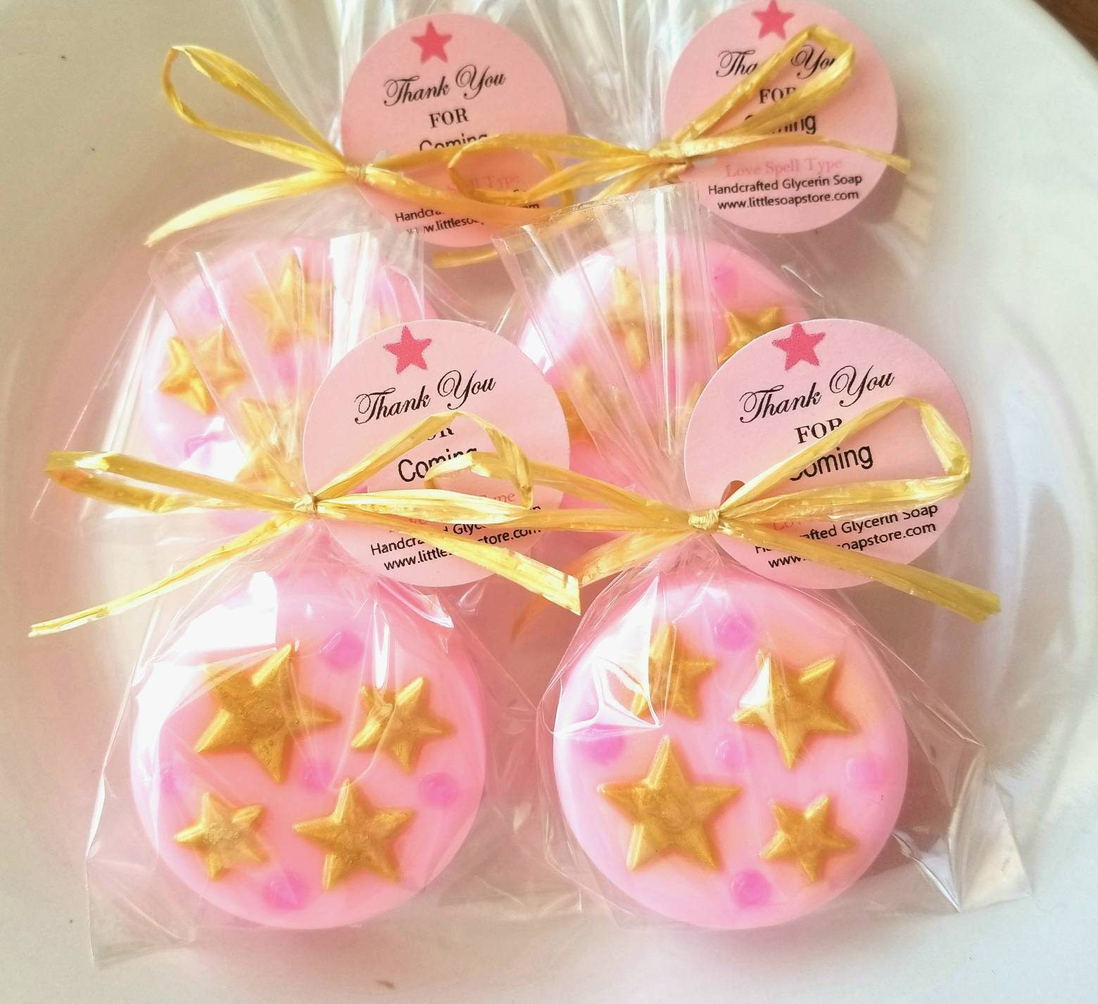 15 pink and gold soap favors pink and gold stars pink and