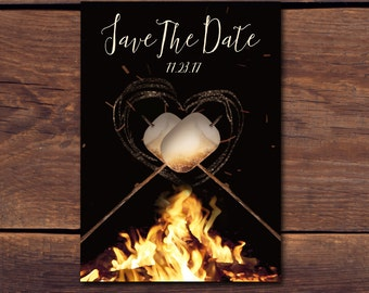 Outdoor Campfire S'mores Printable Save the Date Card
