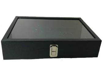 """Hinged Full Glass Top Case Black Leatherette 14x8x2"""""""