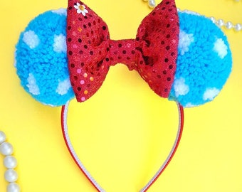 Vintage Minnie Mouse inspired PomPom Ears