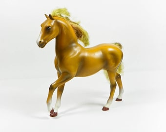 1988 HG Toys Plastic Horse - TLC Condition Marks Scratches Cut Hair - Tan Brown - 80s Toys
