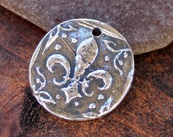 Larger fleur de Lis Charm Sterling Silver