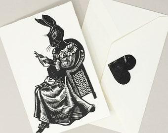 Bunny Love - Handmade Card, Original Linocut Linoprint featuring rabbit reading Valentines Love Letter Stationery