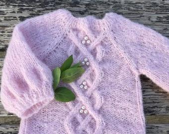Handmade, baby sweater, pink powder, alpaca, silk