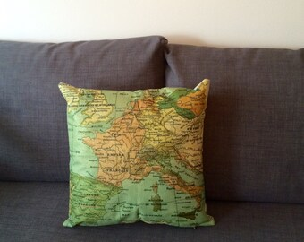 Europe Map Vintage Cushion Cover