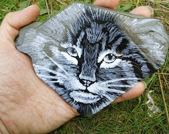 Wild Cat Slate Rock Painting (small size)
