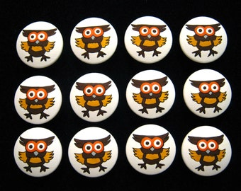 SILLY OWLS - Set of 12 - Hand Painted Drawer Knobs