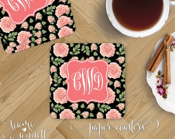 Victorian Rose Paper Coasters - Personalized Disposable Drink Coasters - Pink and Black Floral Pattern - Monogrammed Wedding or Home Decor