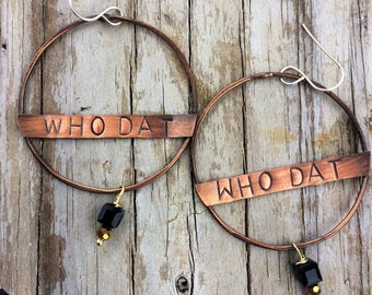 Who Dat Hand Stamped Earrings Copper Soldered Earrings New Orleans Saints, Gift for Her, Ready to Ship