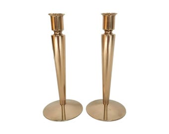 Pair of Vintage Solid Brass Modern Candlesticks
