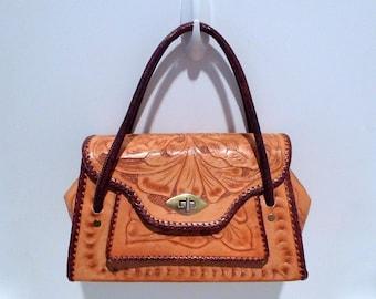 Tooled Leather Purse Vintage Western Roses Handbag 1960's Whipstitch Trim Rockabilly Bag Divided Change Purse Front Pocket Plattermatter
