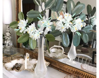 Aqua Blue Paper Flower Branch - Right leaning