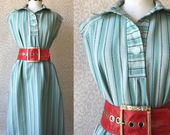 Mint summer dress L-XL, striped mint silver black dress, one size fits most, sleeveless dress, oversized dress, 70's fashion, retro style