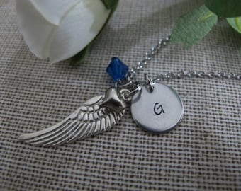 Personalised Gift-Friends Gift for Woman-Best Friend-Simple initial Necklace-Angel Wing Necklace-Initial Jewelry-Handstamped Gifts for her