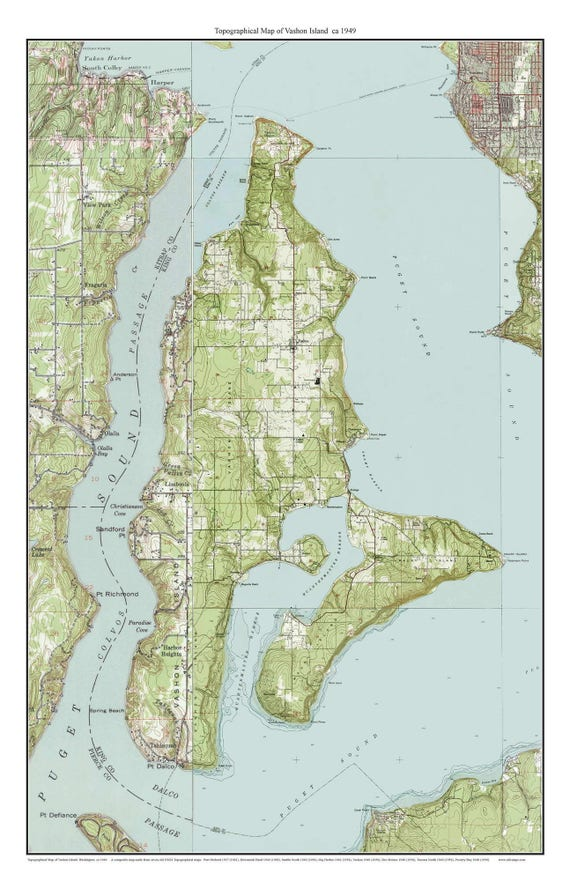 Vashon Island ca 1949 USGS Old Topographic Map Custom