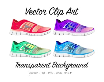 Running Shoe Clip Art - Running Shoe Clipart, Tennis Shoe Clipart, Sneaker,  Running