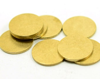 10 pcs. 18 mm Raw Brass Solid  1.5 mm Thick 15 ga   Stamping Tag No Hole