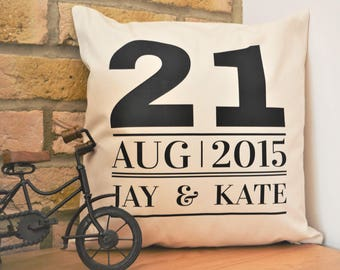 Personalised anniversary gift, for 2nd wedding anniversary, cotton anniversary, personalised wedding present, personalised cushion, new home
