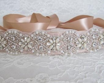 Beige Rhinestone and Lace Wedding Dress