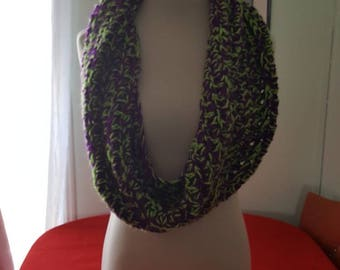 Bulky Infinity Scarf - Green and Purple