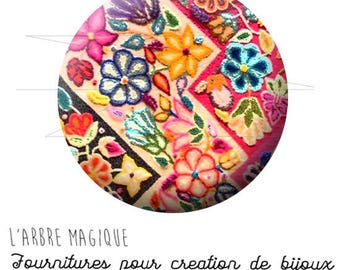 Cabochon 25 mm Hindu Indian-inspired fancy India color colorful ref 1698