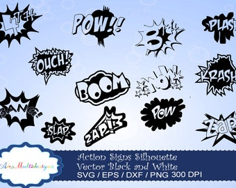 action signs SVG silhouette vector / action sign svg / zap clipart / bang clipart / pow clipart / boom clipart /pop art / comic book / ouch