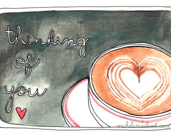 Miss You Card - Latte Postcard - Coffee Postcards - Love Postcards - Set of Postcards - Friendship Postcards - Thinking of You