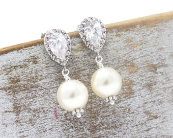 Bridal Earrings Rhinestone and Pearl Drop Wedding Earrings