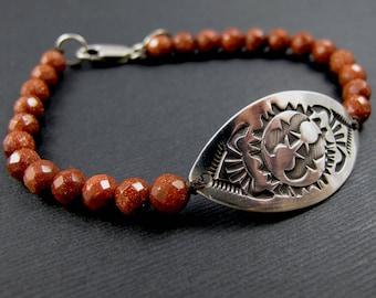 Estampillé ID argent Bracelet Tribal Design soleil Perle Bracelet - Bracelet de œil de l'oiseau - Bracelet pierres précieuses Sunstone Bracelet en argent Sterling