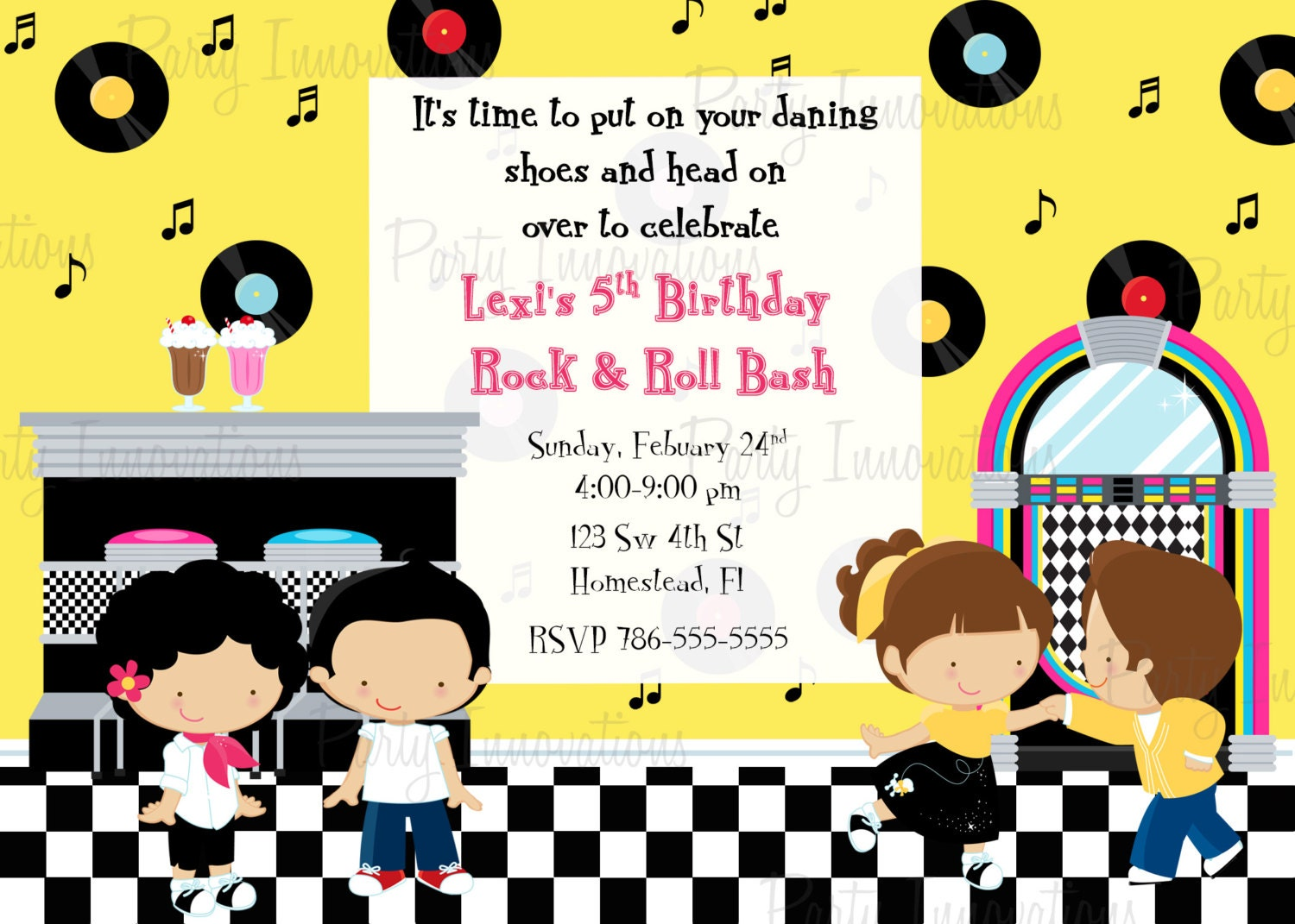 Printable Sock Hop 50\'s Birthday Party Invitation plus